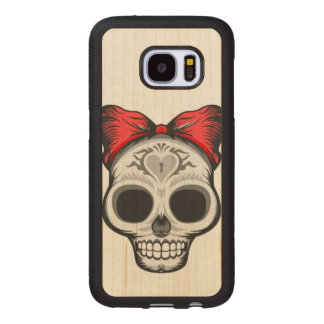 Funda De Madera Para Samsung Galaxy S7 Srta. Thang Sugar Skull