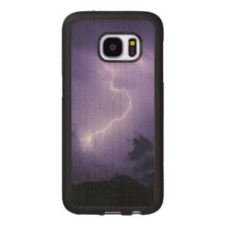 Funda De Madera Para Samsung Galaxy S7 Tempestad de truenos púrpura en la noche