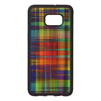 Funda De Madera Para Samsung S6 Edge Plus El extracto colorido raya arte