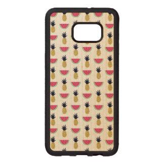 Funda De Madera Para Samsung S6 Edge Plus Modelo lindo del Doodle de la piña y de la sandía