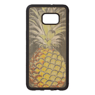 Funda De Madera Para Samsung S6 Edge Plus Pinneapple amarillo tropical en gris