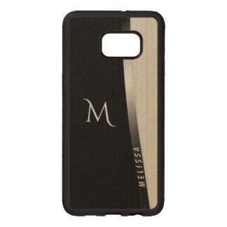 Funda De Madera Para Samsung S6 Edge Plus Plata blanca negra elegante, nombre y monograma