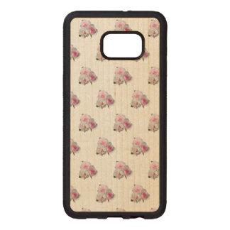 Funda De Madera Para Samsung S6 Edge Plus Tres rosas rosados. Modelo floral