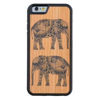 Funda de teléfono de madera con elefante