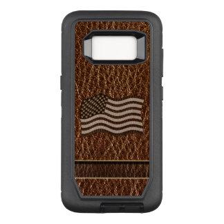 Funda Defender De OtterBox Para Samsung Galaxy S8 Bandera de los E.E.U.U. de la Cuero-Mirada