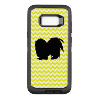 Funda Defender De OtterBox Para Samsung Galaxy S8+ Chevron amarillo limón con la silueta de Shih Tzu