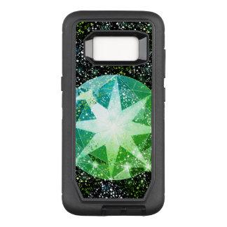 Funda Defender De OtterBox Para Samsung Galaxy S8 Chispa verde del oro del diamante artificial de la