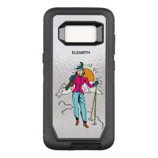 Funda Defender De OtterBox Para Samsung Galaxy S8 Estilo de los tebeos del chica retro del esquí