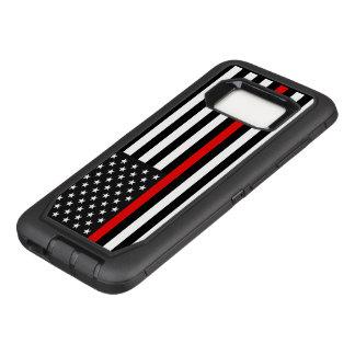 Funda Defender De OtterBox Para Samsung Galaxy S8 Línea roja fina bandera americana