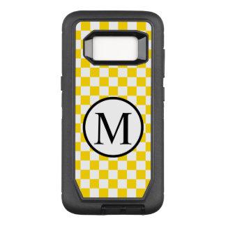 Funda Defender De OtterBox Para Samsung Galaxy S8 Monograma simple con el tablero de damas amarillo