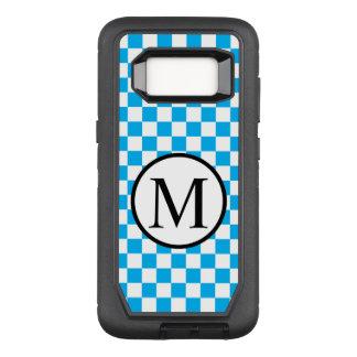 Funda Defender De OtterBox Para Samsung Galaxy S8 Monograma simple con el tablero de damas azul