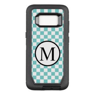 Funda Defender De OtterBox Para Samsung Galaxy S8 Monograma simple con el tablero de damas de la