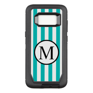 Funda Defender De OtterBox Para Samsung Galaxy S8 Monograma simple con las rayas verticales de la