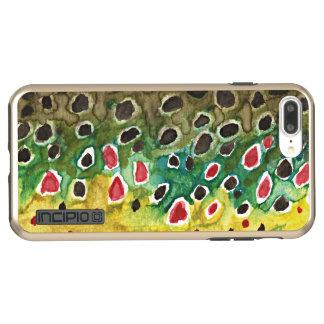 Funda DualPro Shine De Incipio Para iPhone 8 Plus/ Pesca con mosca de la piel de la trucha de Brown
