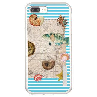 Funda DualPro Shine De Incipio Para iPhone 8 Plus/ Rayas azules del tesoro marino