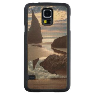 Funda Fina De Arce Para Galaxy S5 De Carved Borde del camino Espina-Formado de la roca de la