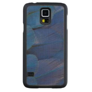 Funda Fina De Arce Para Galaxy S5 De Carved Diseño azul de la pluma del Macaw del jacinto