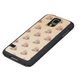 Funda Fina De Arce Para Galaxy S5 De Carved Tres rosas rosados. Modelo floral