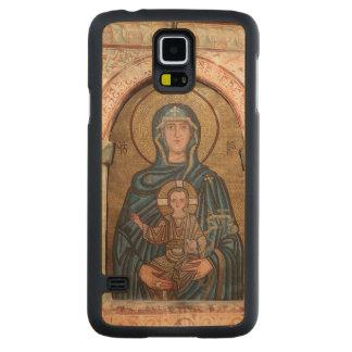 Funda Fina De Arce Para Galaxy S5 De Carved Virgen María y mosaico de Jesús