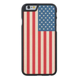 Funda Fina De Arce Para iPhone 6 De Carved Barras y estrellas de la bandera de los E.E.U.U.
