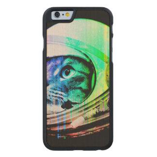 Funda Fina De Arce Para iPhone 6 De Carved los gatos coloridos - astronauta del gato -