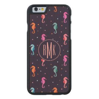 Funda Fina De Arce Para iPhone 6 De Carved Seahorses de la acuarela en modelo de los azules