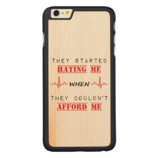 Funda Fina De Arce Para iPhone 6 Plus De Carved Cita de la actitud en el iPhone 6/6s más el caso