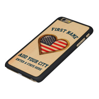 Funda Fina De Arce Para iPhone 6 Plus De Carved Corazón americano modificado para requisitos