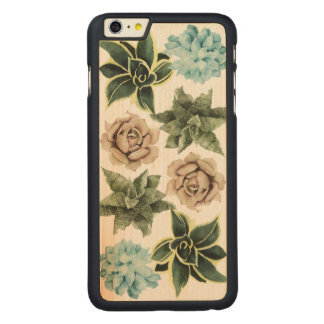Funda Fina De Arce Para iPhone 6 Plus De Carved Fila de Succulents