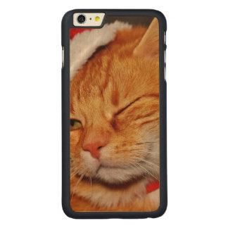 Funda Fina De Arce Para iPhone 6 Plus De Carved Gato anaranjado - gato de Papá Noel - Felices