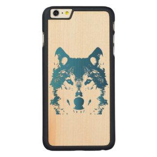 Funda Fina De Arce Para iPhone 6 Plus De Carved Lobo de los azules claros del ilustracion