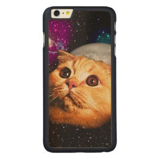 Funda Fina De Arce Para iPhone 6 Plus De Carved luna del gato, gato y luna, catmoon, gato de la