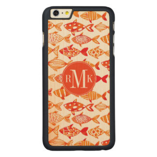 Funda Fina De Arce Para iPhone 6 Plus De Carved Modelo anaranjado brillante de los pescados de la