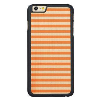 Funda Fina De Arce Para iPhone 6 Plus De Carved Modelo anaranjado y blanco de la raya