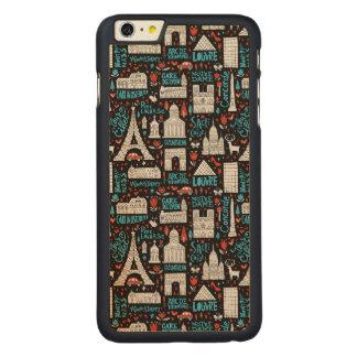 Funda Fina De Arce Para iPhone 6 Plus De Carved Modelo de los símbolos de Francia el |