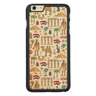 Funda Fina De Arce Para iPhone 6 Plus De Carved Símbolos del color del modelo de Egipto