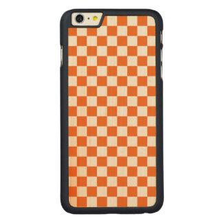 Funda Fina De Arce Para iPhone 6 Plus De Carved Tablero de damas anaranjado