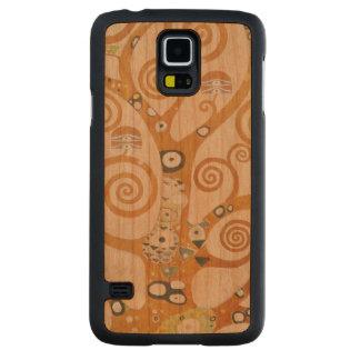 Funda Fina De Cerezo Para Galaxy S5 De Carved Gustavo Klimt el árbol del arte Nouveau de la vida