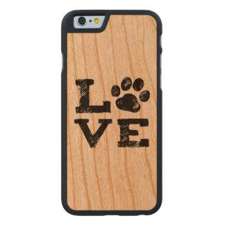 Funda Fina De Cerezo Para iPhone 6 De Carved AMOR con la impresión de la pata del perro