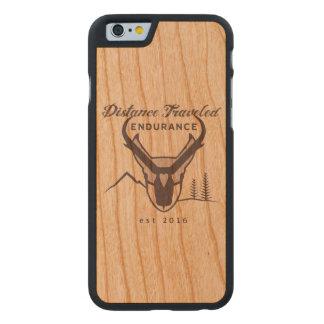 Funda Fina De Cerezo Para iPhone 6 De Carved La distancia viajó caja del teléfono de la