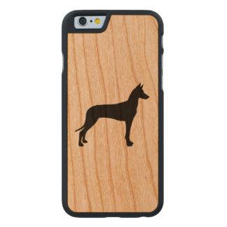 Funda Fina De Cerezo Para iPhone 6 De Carved Silueta del perro del Pharaoh
