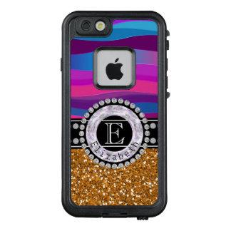 Funda FRÄ' De LifeProof Para iPhone 6/6s Azul rosado femenino, brillo del oro, diamantes,