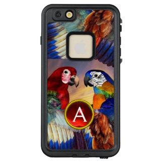 FUNDA FRÄ' DE LifeProof  PARA iPhone 6/6S PLUS LOROS HÍPERES /RED Y MONOGRAMA AZUL DE LA PIEDRA