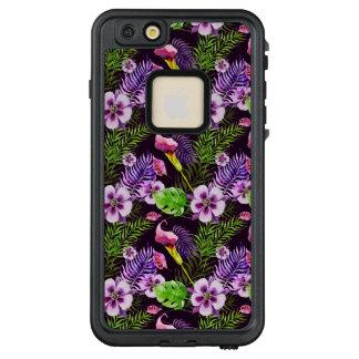 Funda FRÄ' De LifeProof Para iPhone 6/6s Plus Modelo tropical púrpura negro de la acuarela de la