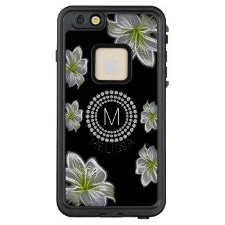 Funda FRÄ' De LifeProof Para iPhone 6/6s Plus Seis flores blancas con los diamantes y su nombre