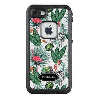 Funda FRÄ' De LifeProof Para iPhone 7 Hoja tropical de la cebra moderna del flamenco