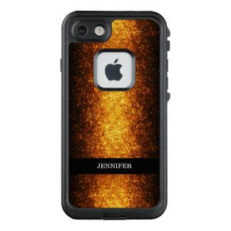 Funda FRÄ' De LifeProof Para iPhone 7 Mirada glamorosa del monograma del brillo del oro