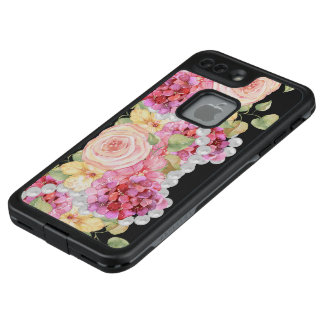 Funda FRÄ' De LifeProof Para iPhone 7 Plus Acuarela floral y perlas