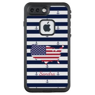 Funda FRÄ' De LifeProof Para iPhone 7 Plus Modelo náutico americano de las rayas de la