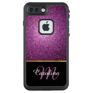 Funda FRÄ' De LifeProof Para iPhone 7 Plus Purpurina púrpura, nombre personalizado y